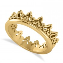 Inverted Heart Crown Ring 14k Yellow Gold