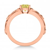 White & Yellow Diamond Celtic Engagement Ring 14k Rose Gold (1.06ct)