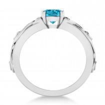 White & Blue Diamond Celtic Engagement Ring 14k White Gold (1.06ct)