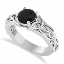 White & Black Diamond Celtic Engagement Ring 14k White Gold (1.06ct)