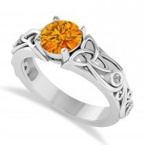 Diamond Accented Bezel Citrine Celtic Engagement Ring 14k White Gold (1.06ct)