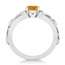 Diamond & Citrine Celtic Engagement Ring 14k White Gold (1.06ct)