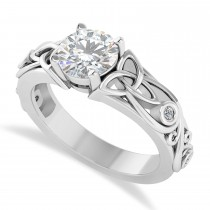 Diamond Accented Bezel Moissanite Celtic Engagement Ring 14k White Gold (1.06ct)