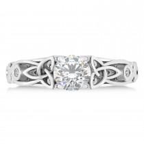 Diamond & Moissanite Celtic Engagement Ring 14k White Gold (1.06ct)