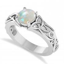 Diamond & Opal Celtic Engagement Ring 14k White Gold (1.06ct)
