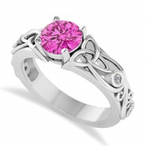 Diamond & Pink Topaz Celtic Engagement Ring 14k White Gold (1.06ct)