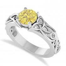 White & Yellow Diamond Celtic Engagement Ring 14k White Gold (1.06ct)