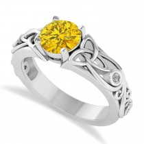 Diamond & Yellow Sapphire Celtic Engagement Ring 14k White Gold (1.06ct)