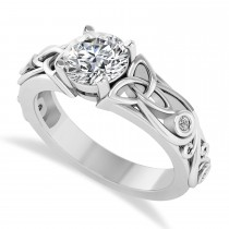 Diamond Accented Bezel Diamond Celtic Engagement Ring 14k White Gold (1.06ct)