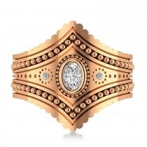Ladies Oval Diamond Antique Style Cigar Ring 14k Rose Gold (0.27 ctw)