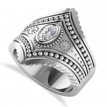 Ladies Oval Diamond Antique Style Cigar Ring 14k White Gold (0.27 ctw)