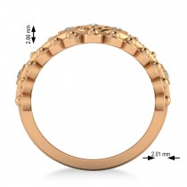 Ladies Diamond Antique Style Cigar Ring 14k Rose Gold (0.21 ctw)
