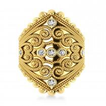 Ladies Diamond Antique Style Cigar Ring 14k Yellow Gold (0.21 ctw)