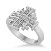 Jerusalem Cross Diamond Accented Ladies Ring 14k White Gold (0.20ct)