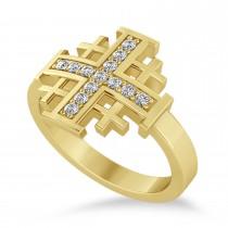 Jerusalem Cross Diamond Accented Ladies Ring 14k Yellow Gold (0.20ct)