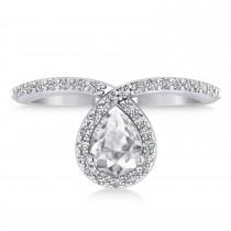 Pear White Diamond Nouveau Ring 14k White Gold (1.11 ctw)