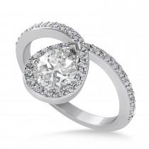 Pear Moissanite & Diamond Nouveau Ring 14k White Gold (1.11 ctw)