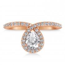 Pear White Diamond Nouveau Ring 18k Rose Gold (1.11 ctw)