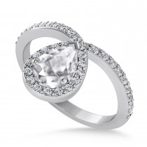 Pear White Diamond Nouveau Ring 18k White Gold (1.11 ctw)