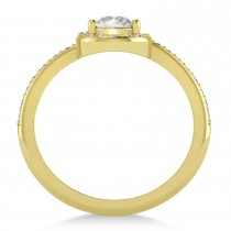 Pear White Diamond Nouveau Ring 18k Yellow Gold (1.11 ctw)