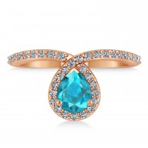 Pear Blue & White Diamond Nouveau Ring 14k Rose Gold (1.11 ctw)