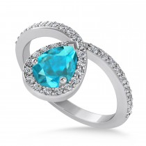 Pear Blue & White Diamond Nouveau Ring 14k White Gold (1.11 ctw)