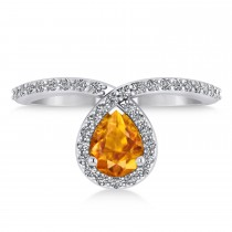 Pear Citrine & Diamond Nouveau Ring 14k White Gold (1.01 ctw)
