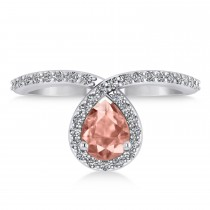 Pear Morganite & Diamond Nouveau Ring 14k White Gold (1.06 ctw)