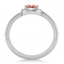 Pear Morganite & Diamond Nouveau Ring 14k White Gold (1.06 ctw)