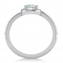 Pear Opal & Diamond Nouveau Ring 14k White Gold (0.71 ctw)
