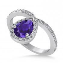 Pear Tanzanite & Diamond Nouveau Ring 14k White Gold (1.11 ctw)