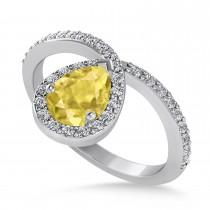 Pear Yellow & White Diamond Nouveau Ring 14k White Gold (1.11 ctw)