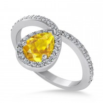 Pear Yellow Sapphire & Diamond Nouveau Ring 14k White Gold (1.11 ctw)