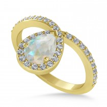 Opal and Diamond Pear Shaped Ring 14k Rose Gold (1.11 ctw)