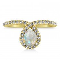 Opal and Diamond Pear Shaped Ring 14k Rose Gold (1.11 ctw) escape
