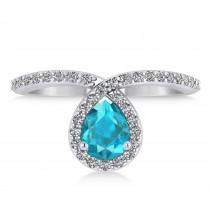 Pear Blue & White Diamond Nouveau Ring 18k White Gold (1.11 ctw)
