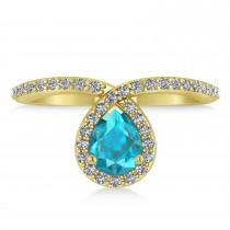 Pear Blue & White Diamond Nouveau Ring 18k Yellow Gold (1.11 ctw)