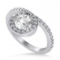 Round White Diamond Nouveau Ring 14k White Gold (1.11 ctw)