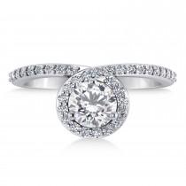 Round Moissanite & Diamond Nouveau Ring 14k White Gold (1.11 ctw)