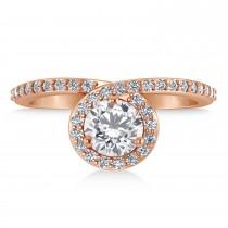 Round White Diamond Nouveau Ring 18k Rose Gold (1.11 ctw)