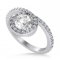 Round White Diamond Nouveau Ring 18k White Gold (1.11 ctw)