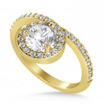 Round White Diamond Nouveau Ring 18k Yellow Gold (1.11 ctw)