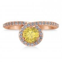 Round Yellow & White Diamond Nouveau Ring 14k Rose Gold (1.16 ctw)