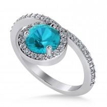 Round Blue & White Diamond Nouveau Ring 14k White Gold (1.11 ctw)