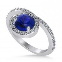 Round Blue Sapphire & Diamond Nouveau Ring 14k White Gold (1.41 ctw)