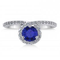 Round Blue Sapphire & Diamond Nouveau Ring 14k White Gold (1.41 ctw) escape