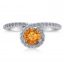 Round Citrine & Diamond Nouveau Ring 14k White Gold (1.06 ctw)