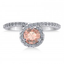 Round Morganite & Diamond Nouveau Ring 14k White Gold (1.16 ctw)