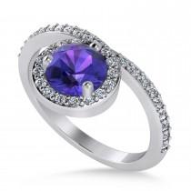 Round Tanzanite & Diamond Nouveau Ring 14k White Gold (1.26 ctw)