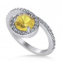 Round Yellow & White Diamond Nouveau Ring 14k White Gold (1.16 ctw)